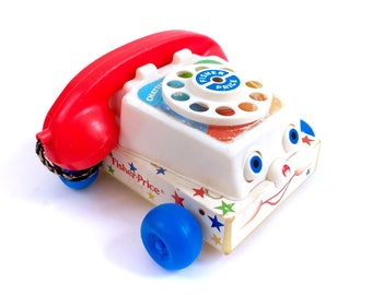 Vintage 1985 Fisher Price Chatter Telephone Phone Quaker Oats #747 80s Pull Toy Ringing Ding Noise Retro Original 60s Plastic Wood Wheel