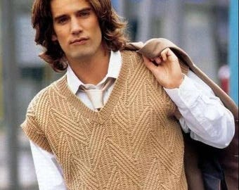 Mens sweater/Knit sweater vest/knitted vest, wool (merino wool)