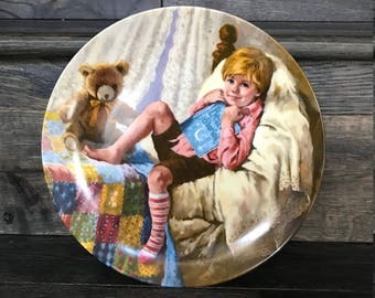 "Vintage Mother Goose Collector Plate - ""Diddle DIddle Dumpling"" - Great Baby Shower gift, Collector Plates,"