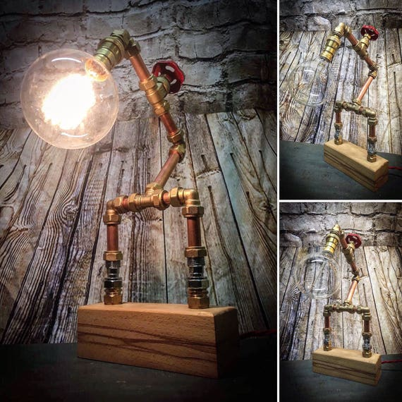 Industrial Copper pipe table lamp