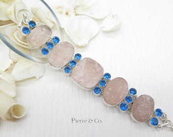 Rose Drusy Quartz and Blue Topaz Sterling Silver Bracelet