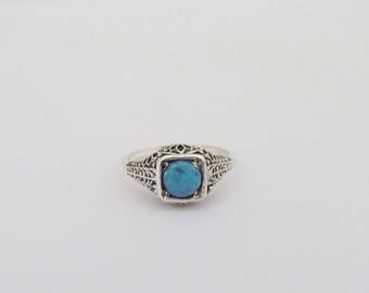 Vintage Sterling Silver Blue Opal Filigree Ring Size 6