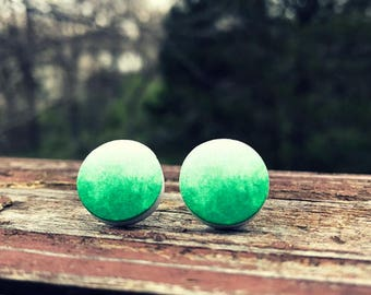 Green ombre stud earrings - 16mm Wood nickel-free earrings