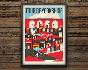 Cycling Art Print A3 / Tour de Yorkshire