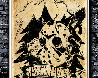Vintage Jason Lives! - A4 Signed Art Print (Inspired by Friday 13th)