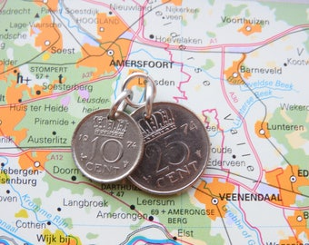 Netherlands coin pendant -3 different designs- in your birth year 1982 - 1983 - 1984 - 1985 - 1986 - 1987 - 1988 - 1989