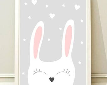 Bunny Nursery Art Prints , Kids Wall Art, Printable Poster, Digital, Kids room, Instant download, Animal poster