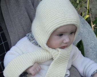 Hat - hand knitted wool baby scarf