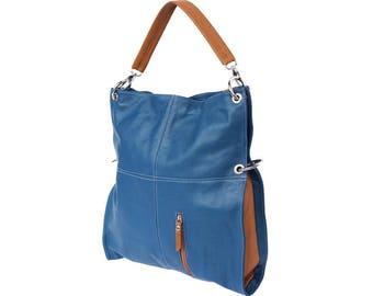Italian handmade Soft leather Hobo shoulder bag in Dark Cyan & Tan 3019