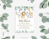Baby shower invitation - Baby animals invitation - Cute safari animals - Baby shower invite - Baby shower party - Lion elephant stars - A104