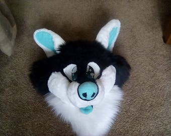 Black and White premade canine fursuit head