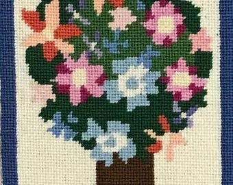 """Framed Floral Needlepoint Picture  floral Hedyotis four ball topiary tree Vintage Wall Hanging 43""""X7"""""""