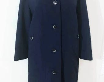 70's Women's Navy Blue Rain Coat Any Weather Coat from Misty Harbor Size 14 Regular Rain and Stain Repellent  Office/Business Attire