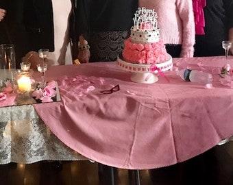 Vintage Pink Round Tablecloth Cotton Linen