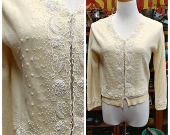 Clearance *** Beautiful Vintage Beaded Cardigan by Maharaja Tellers Hong Kong