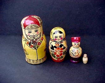 Cute Little Vintage Russian Matryoshka Doll-4 Nested Hand Painted Wooden Dolls