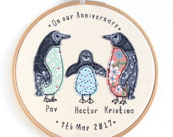 Penguin family embroidery hoop framed wall art picture gift, personalised stitched fabric applique New baby 2nd cotton anniversary