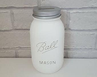 Ball Mason Money Jar, Wedding Fund, Money Box. Wide choice of colours available and two sizes.