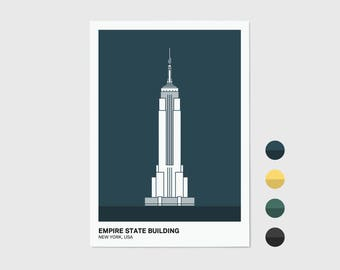 Empire State Building, New York Print | New York Artwork | New York Illustration | Architecture Print | City Print