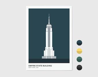 Empire State Building, New York Print | New York Artwork | New York Illustration | Architecture Print | City Print
