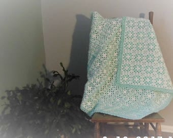 Baby Afghan in White and Green