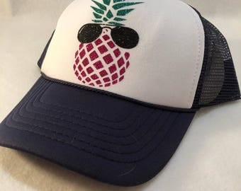 Pineapple hat, pineapple trucker hat, cool pineapple, pineapple with subglasses