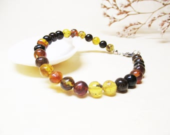 Amber Bracelet Throat Chakra Bracelet Mexican Amber Bracelet Amber Jewelry Energy Bracelet Spiritual Bracelet Minimalist Bracelet 8mm Amber