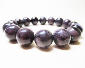 Natural African Sugilite Bracelet Brown Purple Sugilite Gemstone Bracelet Spiritual Bracelet Angel Bracelet 12mm Sugilite Bead Bracelet