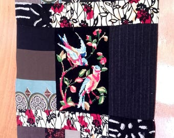 Number 6 textile composition: canvas paired birds