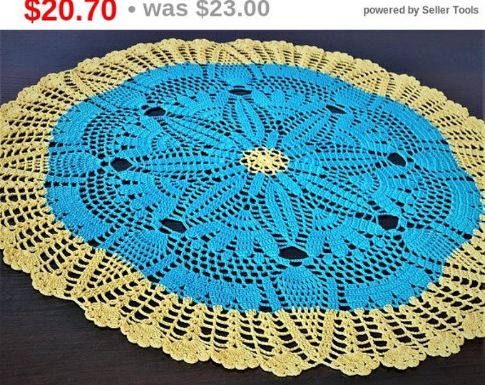 Table mat, Centerpiece Doily, Farmhouse Decor, Round tablecloth, Hand crocheted, Kitchen coasters, Vintage style, Round table cover, doily.