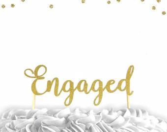 1 pc Engaged script fonts gold silver  glitter wedding bridal Shower bachelorette party engagement cake topper