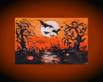 halloween cards small art halloween tags original aceo painting halloween artwork gift for sister aceo illustration painting