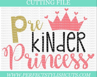 PreK Princess SVG, DXF, EPS, png Files for Cutting Machines Cameo or Cricut - Back To School Svg, Pre-K Svg, Preschool Svg, Prek Shirt
