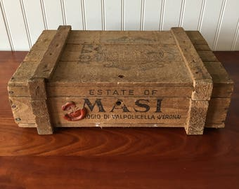 Vintage Wine Crate Wooden Box Wood Crate Estate of Masi Wine Crate with Lid Wine Shipping Crate Advertising Wine Box Wooden Crate