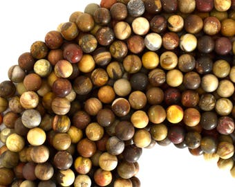 "6mm matte petrified wood agate round beads 15"" strand 39125"
