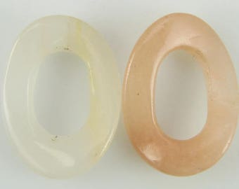 30mm peach aventurine wavy oval donut pendant 2 pcs 5077