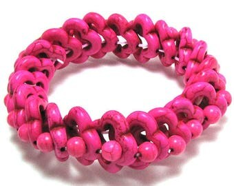 "20mm turquoise stretch bracelet 8"" magenta 17404"