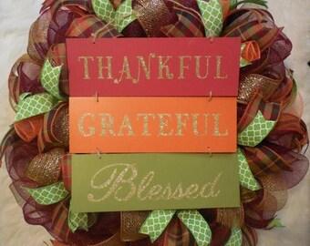 SALE Fall Wreath, Fall Wreaths, Harvest Wreath, Thanksgiving Wreath, Happy Thanksgiving Wreath, Happy Harvest Wreath,Autumn Wreath
