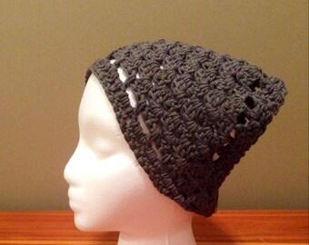 Crochet Kerchief, Hair Bandana, Dark Grey with button closure