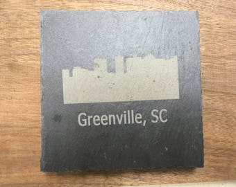 Laser Engraved Greenville Coaster Set