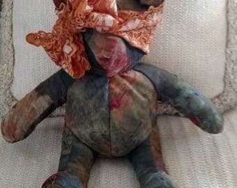 """Fully Lined, Forest Green, Burnt Orange with Lace Headband,  Homemade Bear, Decorator Bear, 10"""" tall"""