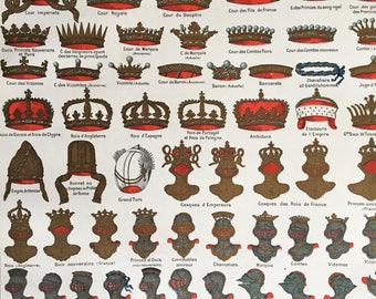 CROWNS AND HELMETS.1904's-Old Chromolithography.Color. 12,2 ins x 9,45 ins