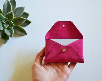 Fuchsia leather card holder / Pink envelope card holder / Suede leather business card case / Genuine leather