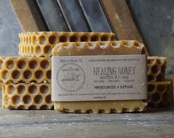Healing Honey Soap | Moisturizing Soap, Acne Soap, Eczema Soap, Face Soap, Homemade Soap, Gentle, Unscented, Homemade Soap