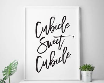 "Black and white printable art ""Cubicle Sweet Cubicle"" office art print office wall art office decor office printable cubicle art"