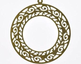2 x large PENDANTS prints zinc alloy bronze antique 6.3 cm