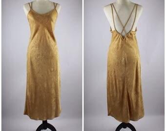 VTG Gold Satin Floor Length Slip Dress