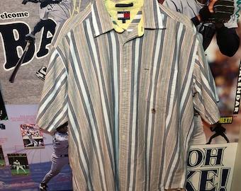 Vintage Tommy Hilfiger Striped Button Up Men's Large