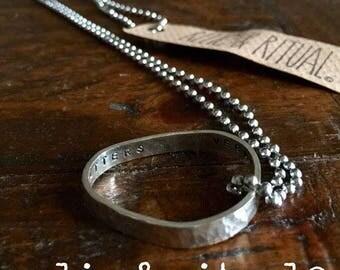 Hammered Sterling Silver VEGAN Organic Form Pendant