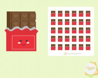 Kawaii Chocolate Bars, Chocolate Stickers, Planner Stickers, Erin Condren Life Planner
